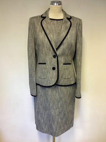 HOBBS NAVY BLUE & WHITE MARL SLEEVELESS PENCIL DRESS & JACKET SIZE 12