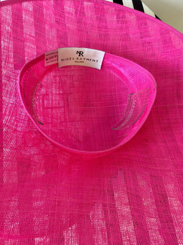 BRAND NEW NIGEL RAYMENT HOT PINK BOW & FEATHER TRIM HATINATOR