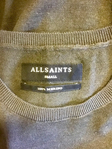 ALL SAINTS KHAKI GREEN MERINO WOOL CREW NECK JUMPER SIZE S