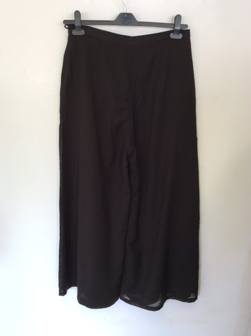 NITYA DARK BROWN WOOL BLEND WIDE LEG TROUSERS SIZE 16
