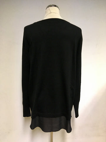 BETTY BARCLAY BLACK CONTRAST TRIM LONG SLEEVE JUMPER SIZE 14