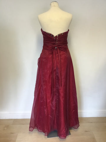 BRAND NEW YUNJAN BURGUNDY STRAPLESS SEQUINNED BALLGOWN & MATCHING WRAP SIZE 12