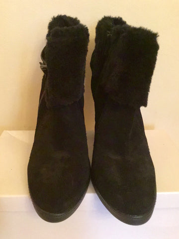 BRAND NEW MARKS & SPENCER BLACK SUEDE FAUX FUR TRIM HEELED ANKLE BOOTS SIZE 6/39