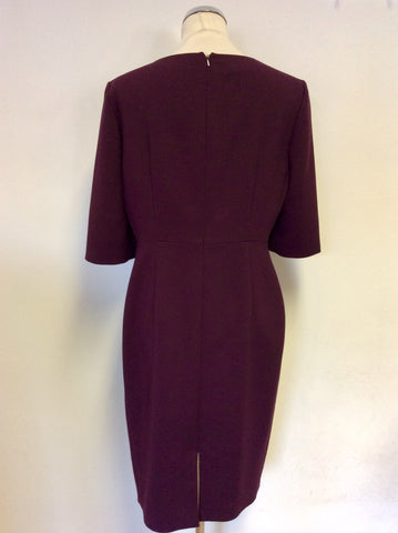 HOBBS BURGUNDY SHORT SLEEVE PENCIL DRESS SIZE 14