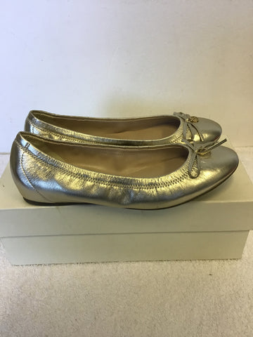 BAND NEW LK BENNETT SUKIMA GOLD METALLIC LEATHER FLATS SIZE 4/37