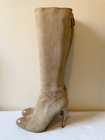 LK BENNETT MOYA BEIGE SUEDE & PATENT LEATHER TOE HEELED KNEE LENGTH BOOTS SIZE 7/40