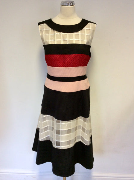 PHASE EIGHT BLACK,PINK,RED & WHITE SPECIAL OCCASION DRESS SIZE 16
