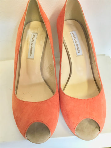 BRAND NEW ANGEL ALARCON ORANGE & BEIGE SUEDE PEEPTOE HEELS SIZE 6/39