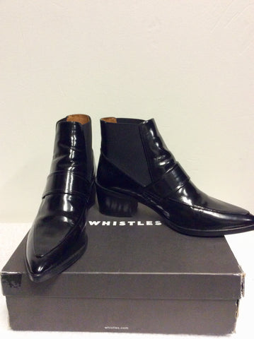 BRAND NEW WHISTLES BLACK PATENT LEATHER RILEY LOAFER POINT ANKLE BOOTS SIZE 7/40