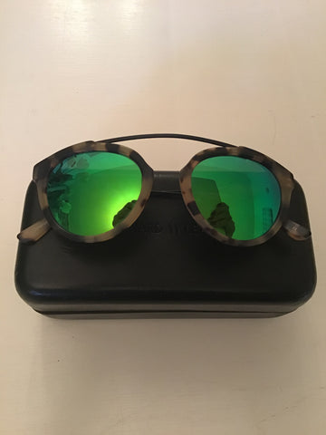 WESTWARD LEANING FLOWER 02 BROWN TORTOISESHELL EMERALD GREEN MIRRORED LENSES SUNGLASSES