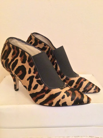 BRAND NEW HOBBS BLACK & BROWN LEOPARD PRINT PONYSKIN HEELED SHOE/ BOOTS SIZE 3.5/36