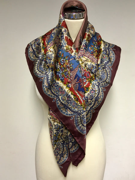 LIBERTY BROWN,RED & BLUES SHADES SILK LARGE SQUARE PATTERNED SCARF