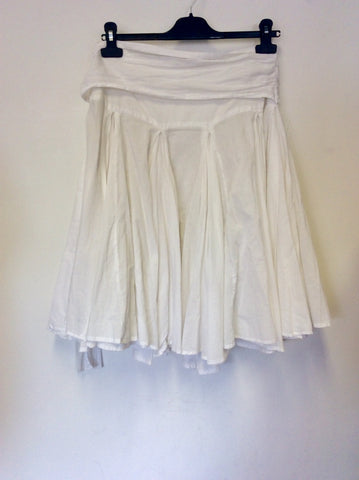 ALL SAINTS WHITE COTTON FLIPPY FULL SKIRT SIZE S