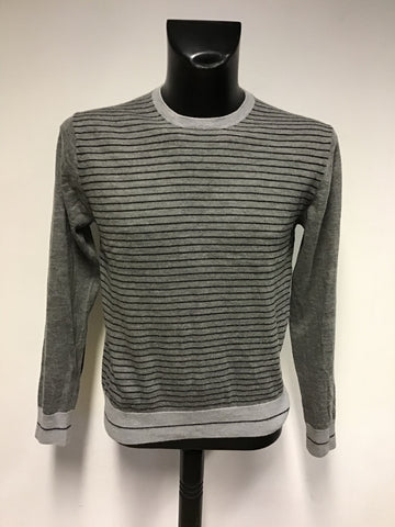 DKNY GREY STRIPE MERINO WOOL CREW NECK JUMPER SIZE L