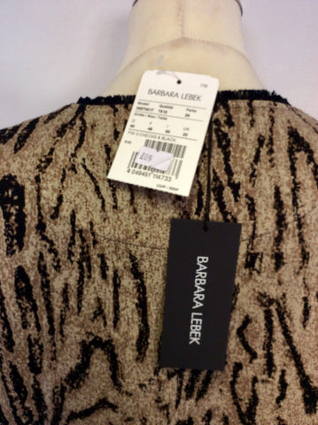 BRAND NEW BARBARA LEBEK BLACK & BROWN ANIMAL PRINT ZIP FRONT CARDIGAN SIZE 20