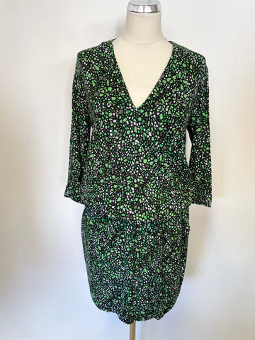 & OTHER STORIES GREEN & BLACK PRINT 3/4 SLEEVE ELASTICATED WAIST DRESS SIZE 8