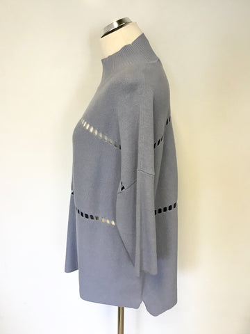 FRENCH CONNECTION LIGHT BLUE CUT OUT TRIM OVERSIZE JUMPER SIZE M