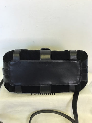 LK BENNETT BLACK SUEDE & LEATHER TRIM SHOULDER BAG