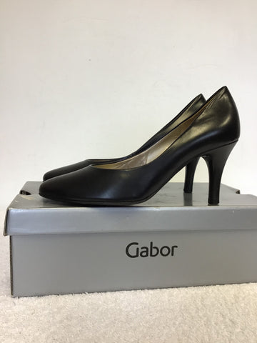 BRAND NEW GABOR OPERATION BLACK LEATHER HEELS SIZE 4/37