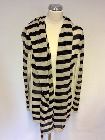 BRAND NEW MARCCAIN STRIPED LONG FINE KNIT TOP & HOODED CARDIGAN SIZE N6 UK XL