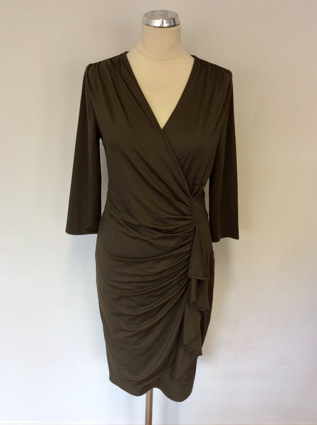 BRAND NEW COAST OLIVIA OLIVE GREEN FAUX WRAP PENCIL DRESS SIZE 12