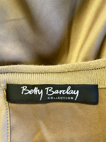 BETTY BARCLAY GOLD SHIMMER FINE KNIT TOP WITH SILK BACK SIZE M