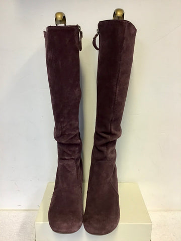 CLARKS PLUM SUEDE LEATHER LINED KNEE LENGTH BOOTS SIZE 6/39