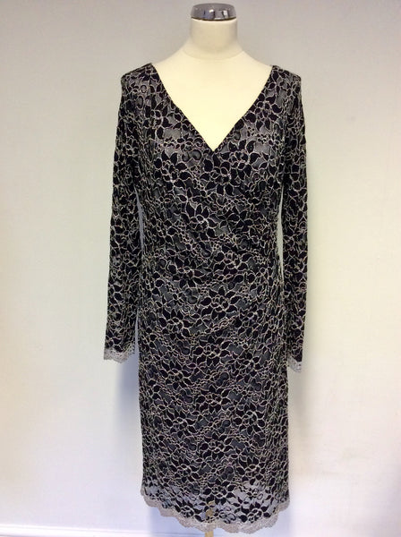 BRAND NEW GINA BACCONI BLACK & WHITE LACE SPECIAL OCCASION DRESS SIZE 18