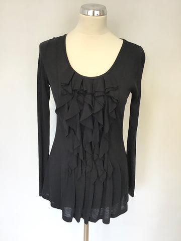 JIGSAW BLACK TIERED FRILL FRONT SCOOP NECK LONG SLEEVE TOP SIZE S