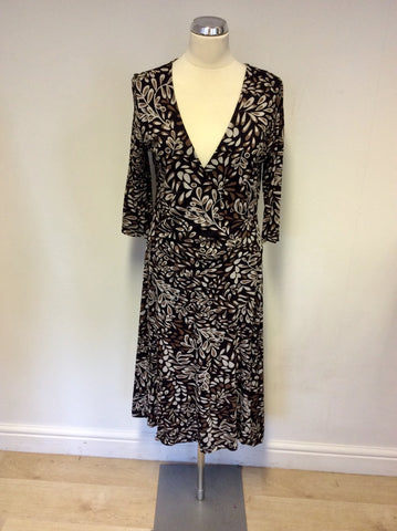 ADINI BLACK,BROWN & CREAM PRINT WRAP DRESS SIZE M