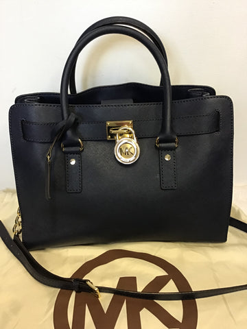 MICHAEL KORS HAMILTON DARK BLUE LEATHER TOTE/ SHOULDER BAG