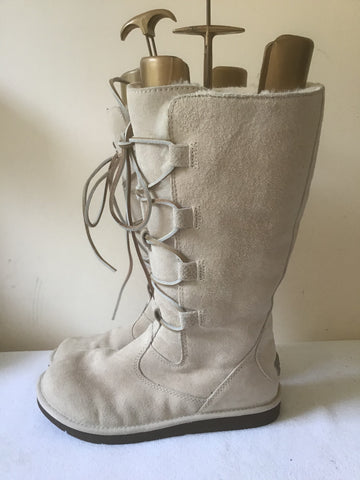 BRAND NEW RARE UGG WHITELEY BEIGE/CREAM SUEDE SHEEPSKIN TALL LACE UP BOOTS SIZE 6.5 FIT 5.5