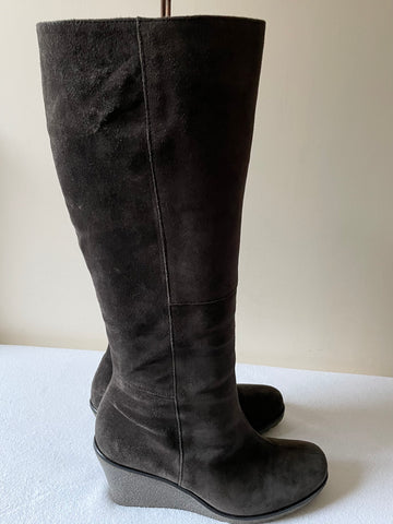 BRAND NEW GABOR BROWN SUEDE WEDGE HEEL BOOTS SIZE 4.5/37.5