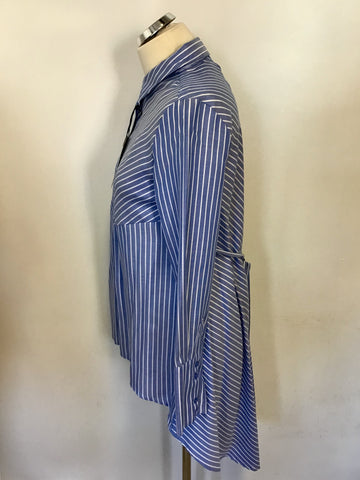 BRAND NEW MARKS & SPENCER BLUE & WHITE STRIPE LONG SHIRT SIZE 10