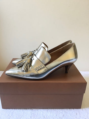 COACH SILVER METALLIC LEATHER BETTY LOAFER HEELS SIZE 3.5/36