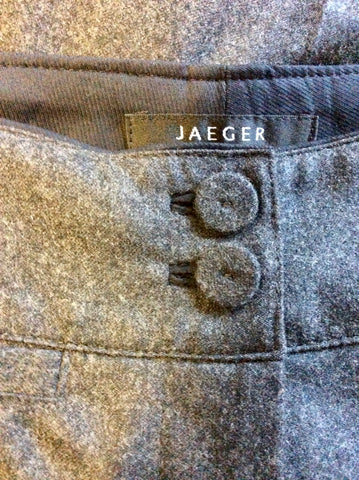 JAEGER DARK GREY 100% WOOL STRAIGHT LEG TROUSERS SIZE 10
