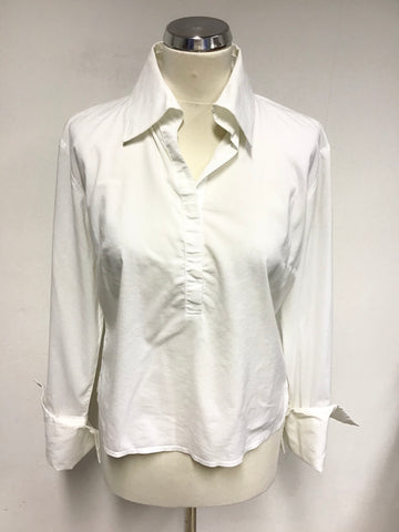SISLEY WHITE FITTED TURN BACK WIDE CUFF SHIRT SIZE M