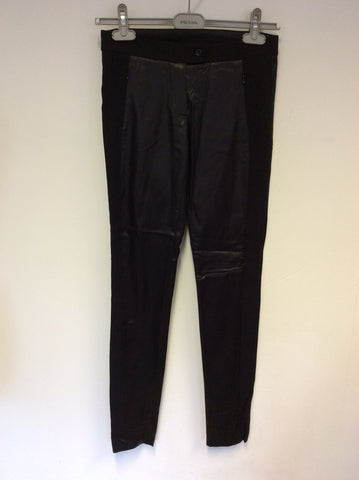 PINKO BLACK SATIN FEEL LEGGINGS SIZE 8