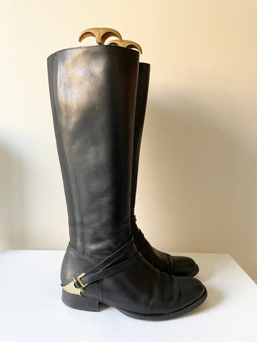 LK BENNETT NELIA BLACK LEATHER ELASTICATED PANEL KNEE LENGTH BOOTS SIZE 4/37