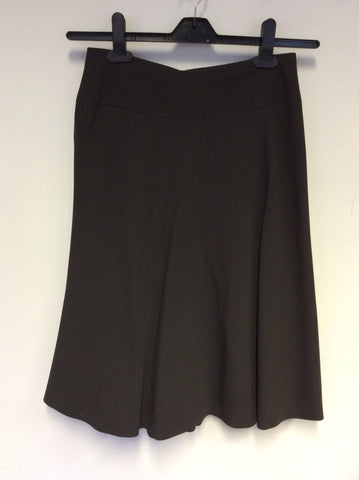 JIGSAW DARK BROWN A LINE WOOL BLEND KNEE LENGTH SKIRT SIZE 8