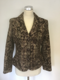 HOBBS BROWN CHECK & FLORAL EMBOSSED WOOL BLEND JACKET SIZE 12