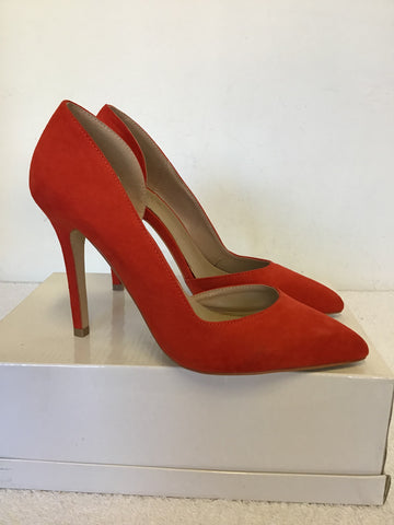BRAND NEW CARVELA KURT GEIGER ORANGE FAUX SUEDE HEELS SIZE 5/38