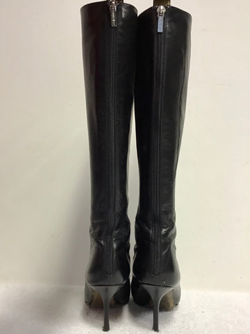 JIMMY CHOO BLACK LEATHER SLIM LEG KNEE LENGTH BOOTS SIZE 5/38