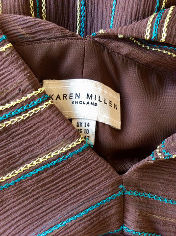 KAREN MILLEN BROWN SILK EMBROIDERED DRESS SIZE 14