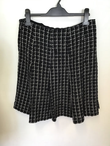 JESIRE BLACK & WHITE WEAVE WOOL BLEND JACKET & SKIRT SUIT SIZE 10/12