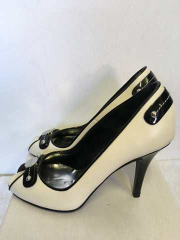 BRAND NEW KAREN MILLEN BLACK & WHITE LEATHER PEEPTOE HEELS SIZE 6/39