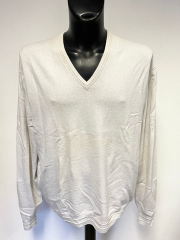 MARKS & SPENCER BEST OF BRITISH PORCELAIN 100% CASHMERE V NECK JUMPER SIZE XXL.