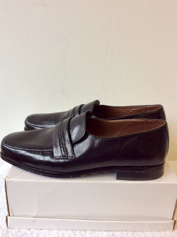BRAND NEW MARKS & SPENCER COLLEZIONE BLACK LEATHER SLIP ON SHOES SIZE 9.5/43.5 EXTRA WIDE FIT