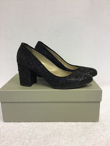 HOBBS BLACK GLITTER BETTY COURT SHOES SIZE 7/40
