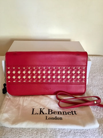 LK BENNETT CHERRY RED LEATHER HEELS & MATCHING CLUTCH/ SHOULDER BAG SIZE 7/40
